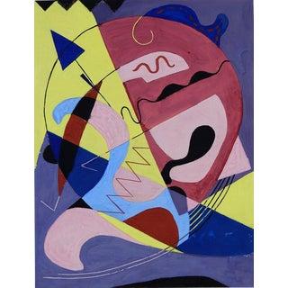 Abstract Blue Arrow Gouache Painting