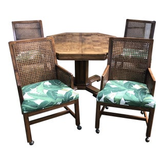 1980s Traditional Cane Back Upholstered Chairs and Game Table Set - 5 Pieces For Sale