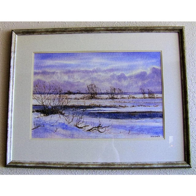"""Early 21st Century Vintage Irish """"Winter Scene"""" Watercolor by Rev Jh Flack For Sale - Image 9 of 9"""