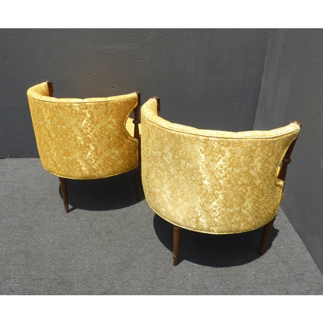 Traditional 1960s Vintage Stacey House Atomic Era Gold Club Chairs - a Pair Mid Century Modern For Sale - Image 3 of 13