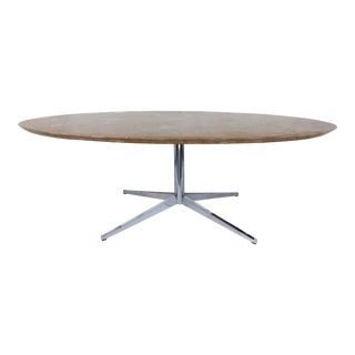 Florence Knoll Oval Marble Top Dining/Conference Table W/ Chrome Star Base For Sale