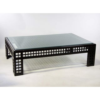 Contemporary Glass Inset Lattice Form Coffee Table Preview