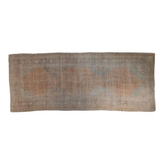 """Vintage Distressed Oushak Rug Runner - 5' X 12'6"""" For Sale"""