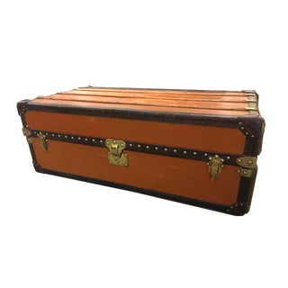 Rare Louis Vuitton Orange Vuittonite Wardrobe Trunk, Circa 1920's For Sale