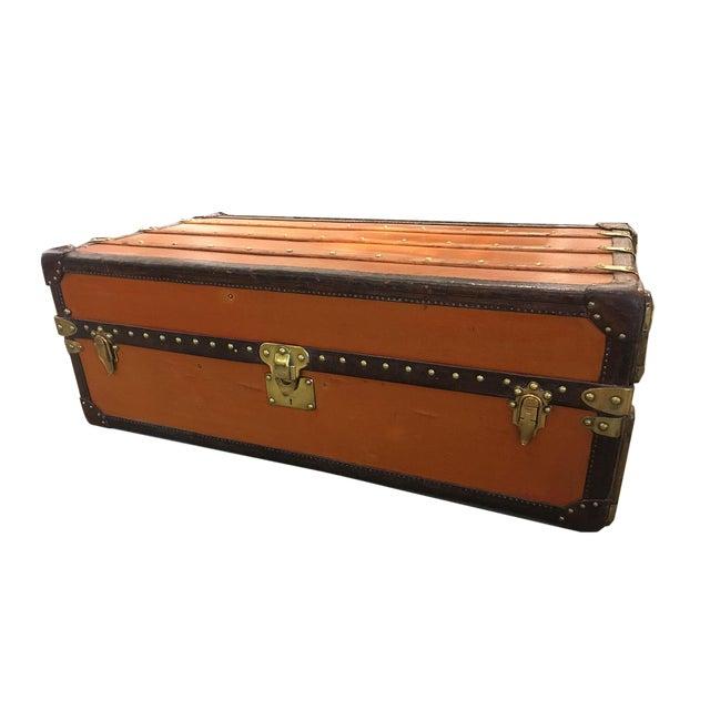 Rare Louis Vuitton Orange Vuittonite Wardrobe Trunk, Circa 1920's For Sale