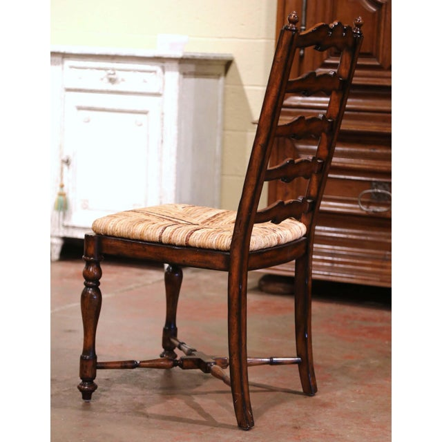 Wood Country French Carved Walnut Ladder Back Chairs With Rush Seat, Set of Six For Sale - Image 7 of 11