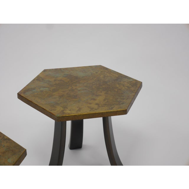 Mid-Century Modern Pair of Harvey Probber Acid-Etched Bronze Tables For Sale - Image 3 of 11