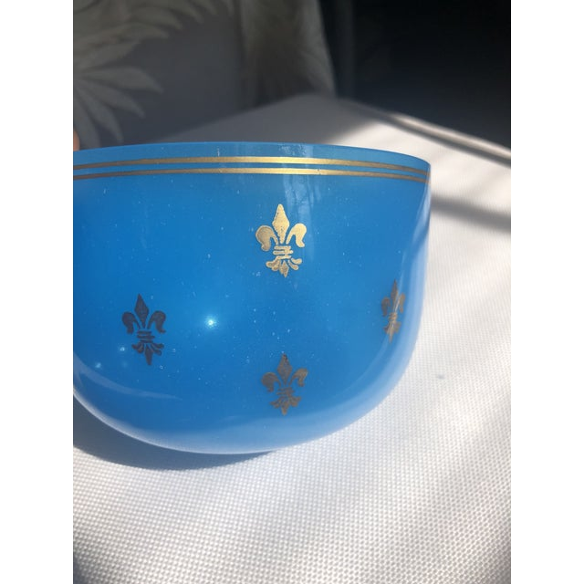 Mid 19th Century 19th Century Blue Opaline Glass Bowl For Sale - Image 5 of 8