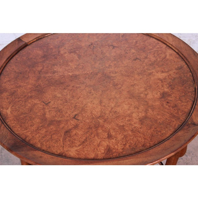 Mid 20th Century Michael Taylor for Baker Far East Collection Walnut and Burl Wood Occasional Table For Sale - Image 5 of 11