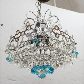 Italian Mid-Century Modern Chrome Chandelier with Clear and Turquoise Glass Balls Preview