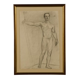 19th Century Figurative French Original Drawing of Live Male Nude For Sale