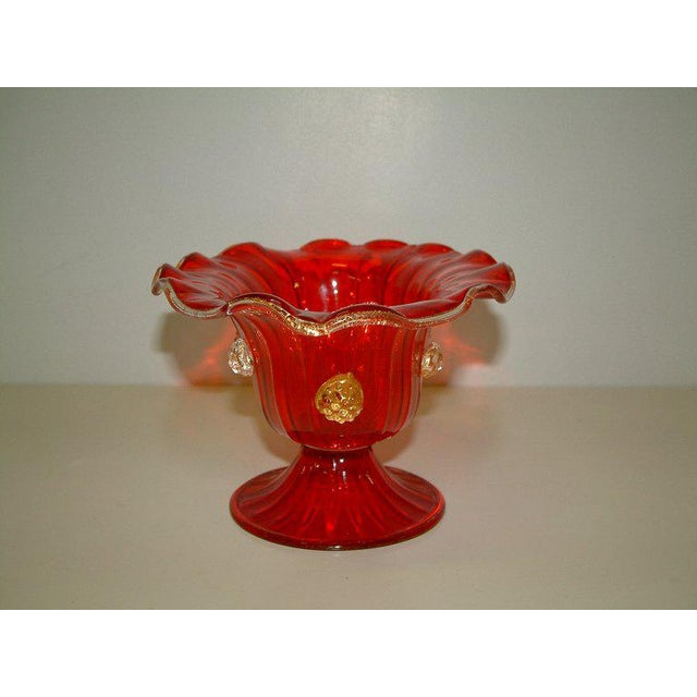 Murano Circa 1940 Italian Red Murano Compote With Applied Rosettes For Sale - Image 4 of 4