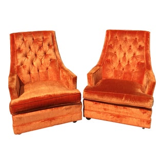 Mid Century Tufted Orange Velvet High Back Swiveling Arm Chairs - a Pair For Sale