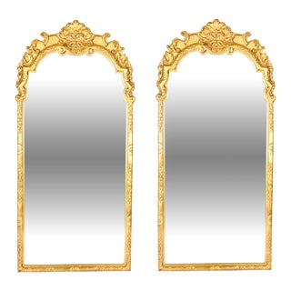 Vintage Gilded Wood Framed Hanging Wall Mirrors - a Pair For Sale