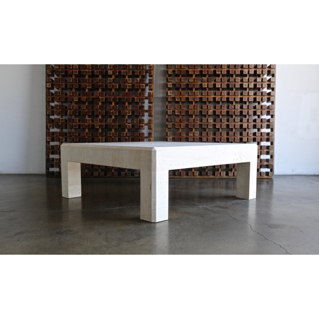 Late 20th Century Square Travertine Coffee Table Circa 1980 For Sale - Image 5 of 8