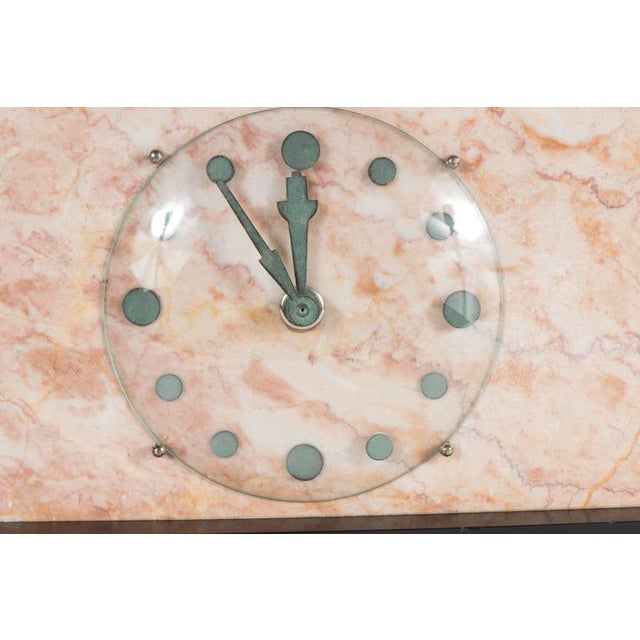 French Art Deco Streamline Exotic Pink, Black and Red Marble Table Clock For Sale In New York - Image 6 of 9