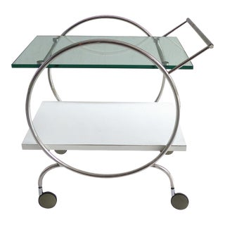 Post Modern 2-Tier Rolling Chrome Bar Cart For Sale