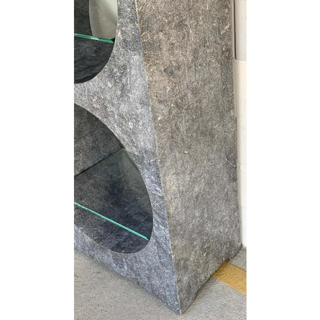 Modern Tessellated Stone Monolithic Bookcase / Vitrine For Sale - Image 9 of 13