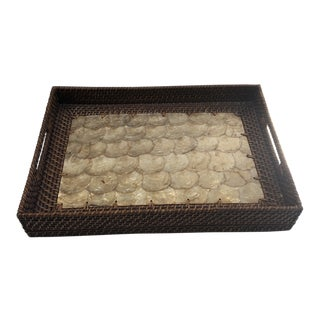 Rattan Tray With Capiz Shell Interior For Sale