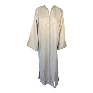 1970s Morrocan Handmade Ceremonial Vintage Gold Kaftan For Sale