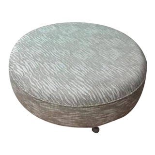 Round Gray Upholstered Ottoman For Sale