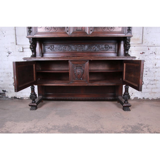 19th Century French Black Forest Carved Walnut Sideboard or Bar Cabinet For Sale In South Bend - Image 6 of 13