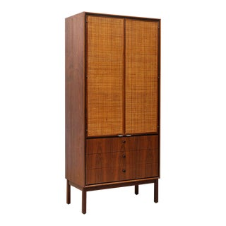 1960s Mid Century Modern Jack Cartwright for Founders Walnut Armoire Dresser For Sale