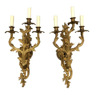 Louis XV Style Italian Metal Sconces - a Pair For Sale