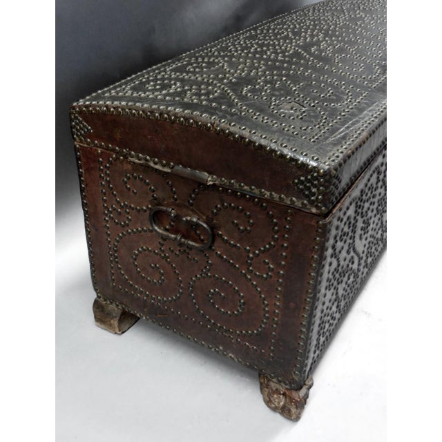 Mid 18th Century Spanish Leather Trunk For Sale - Image 5 of 11