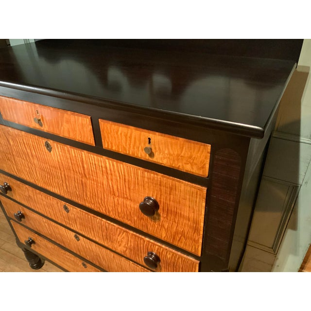 Traditional 19th Century American Empire Ebonized and Tiger Maple Tall Chest For Sale - Image 3 of 9