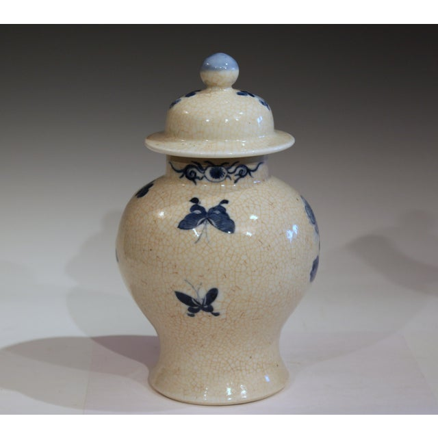Chinese Antique 19th Double Circle Mark Chinese Blue & White Porcelain Jar Cover Vase For Sale - Image 3 of 12