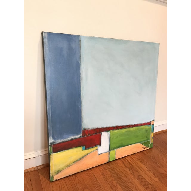 Acrylic and Pastel on thick gallery wrapped canvas. Bold shapes in primary colors build an abstracted landscape. 36 x 36 x...