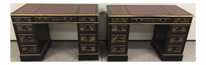1940s Chinoiserie Sligh Lowry Furniture Co Partner Desks   A Pair