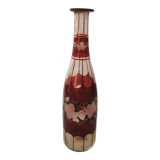 Antique Ruby Stain Decanter/ Bottle Etched Cut Bohemian Wine Bottle For Sale