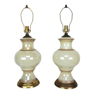 20th Century Hollywood Regency Pearlescent Glass Lamps - a Pair