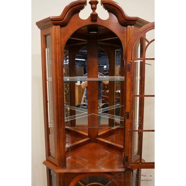 Pulaski Furniture Cherry Illuminated Corner Display Curio Cabinet For Sale - Image 4 of 9