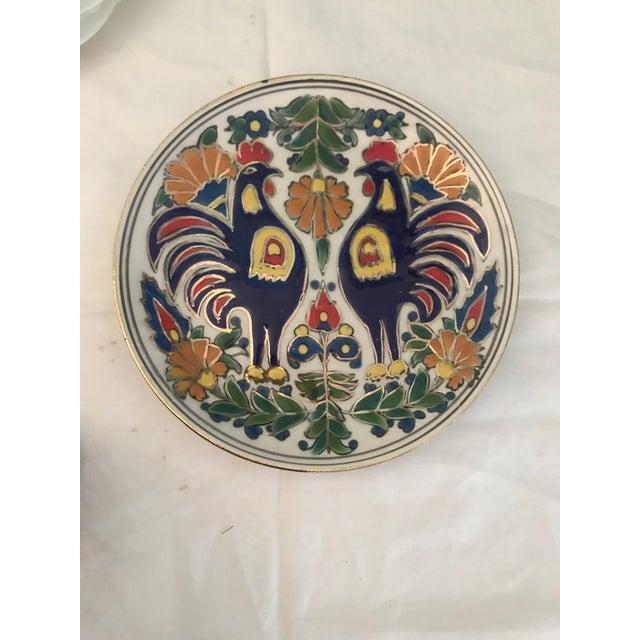 Vintage Manousakis-Keramik Rodos Greece Hand Painted Hanging Plate For Sale - Image 4 of 4