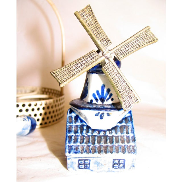 Mid 20th Century Blue Delftware Salt and Pepper With Decoriative Windwill and Tray - Set of 4 For Sale - Image 5 of 12