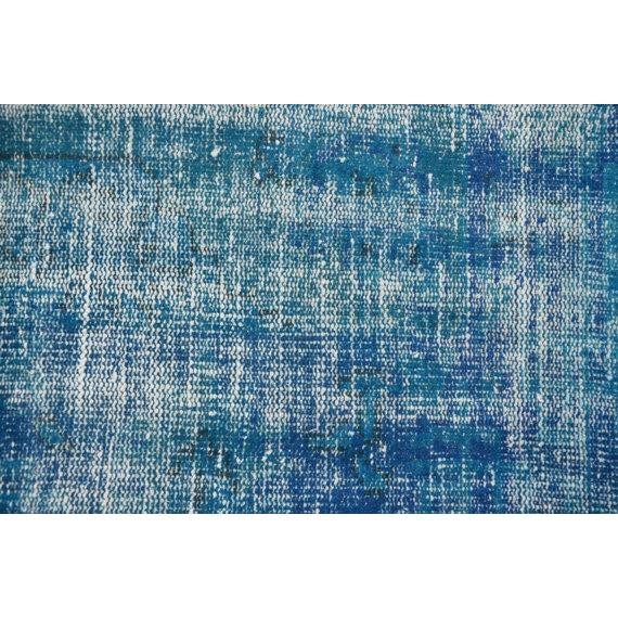 Vintage Handwoven Turkish Oushak Blue Rug - 6′2″ × 9′6″ - Image 3 of 6