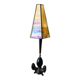 1970s Gothic Table Lamp with Opalescent Art Nouveau Shade For Sale