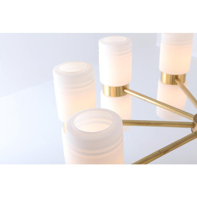 Brass Hans-Agne Jakobsson Brass and Milky Opaline Glass Chandelier For Sale - Image 7 of 10
