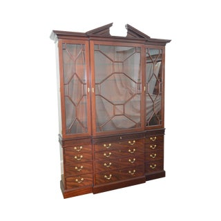 Baker Colonial Williamsburg Collection Large Mahogany Chippendale Style Breakfront For Sale