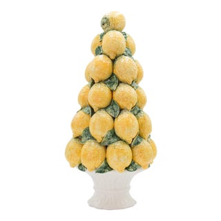 Large Vintage Italian Majolica Lemon Topiary Centerpiece For Sale