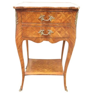 20th Century Italian Louis XV Style Marquetry Wood Side Table or Nightstand For Sale