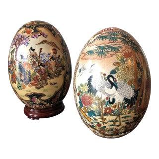 Vintage Satsuma Japanese Ceramic Eggs With Crane Details - a Pair For Sale