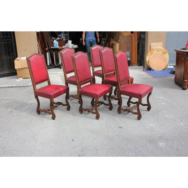 French French Louis XIII Style Os De Mouton Red Leather Dining Chairs - Set of 6 For Sale - Image 3 of 13