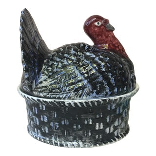 1950s Majolica Turkey Tureen For Sale
