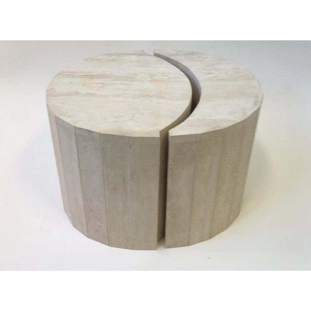 Willy Rizzo Oval Italian Travertine Cocktail Table by Willy Rizzo For Sale - Image 4 of 11