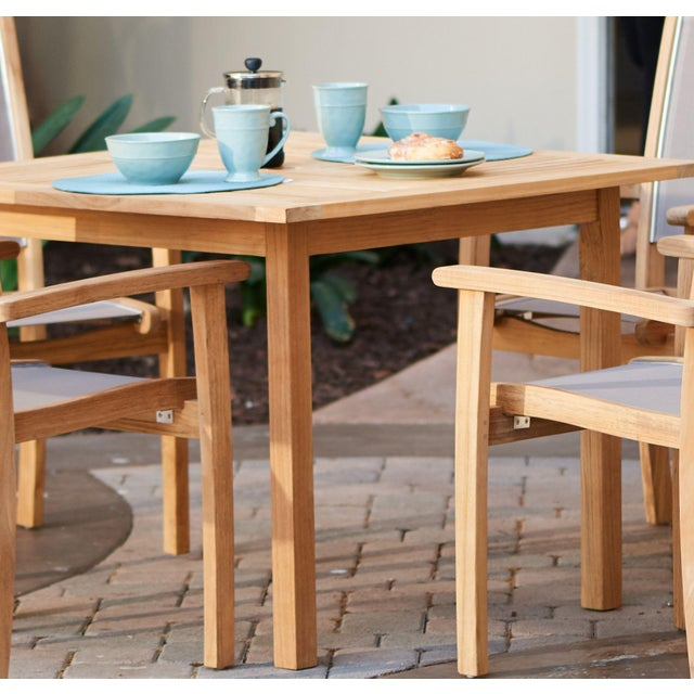 Birmingham Square Teak Outdoor Dining Table For Sale - Image 4 of 5