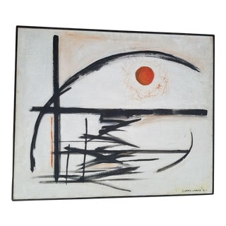 """1970s Vintage """"Sun on the Horizon"""" Abstract Painting by S. Wentz-Wibbels For Sale"""